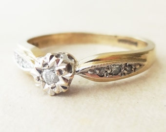 Vintage 9k Gold Diamond Engagement Ring, Classic Diamond Wedding Band Ring, Approx. Size US 5.75