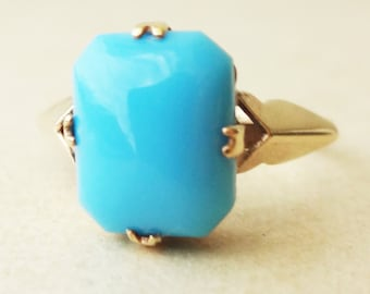 ON SALE 10% Off- Vintage 1950's Turquoise Cabochon 9 Carat Gold Ring,  Approx. Size US 5.5/ 5.75