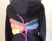 Upcycled Zip Up Hoodie Black Patchwork Rainbow Butterfly FD OOAK Womens Size M Medium Hippie clothes, upcycled hoodie, flower hoodie
