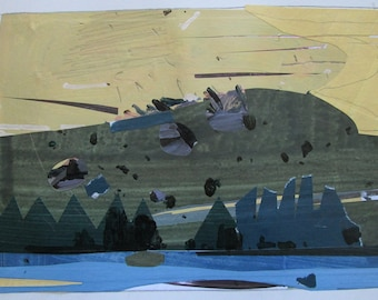 Trout Spot, Original Landscape Collage Painting on Paper, Stooshinoff