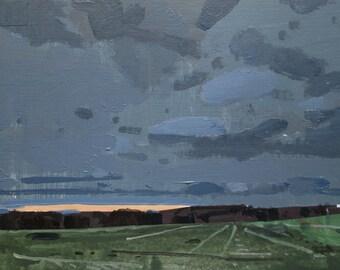 November End, Original Sunset Landscape Painting on Panel, Stooshinoff