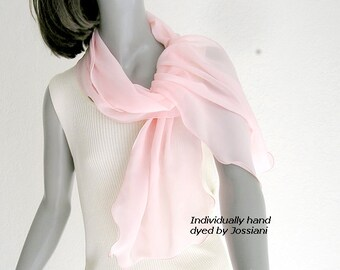 Light Pink Silk Chiffon Scarf, Peach Sheer Wrap Coverup, Unique Shawl, Artisan Hand Dyed, Pink Bridal Scarf, Jossiani, ready to ship