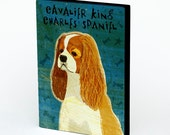 "Cavalier King Charles Spaniel Art Block 4"" x 5""- Dog Art Print- CKC Print- Dog Wall Decor- CKC Gifts for Her- Dog Gifts for Dog Lovers"