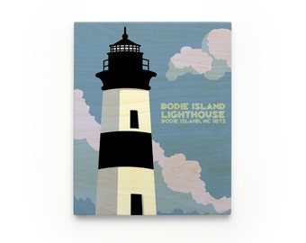 Bodie Island Lighthouse art Block- North Carolina Lighthouse Art
