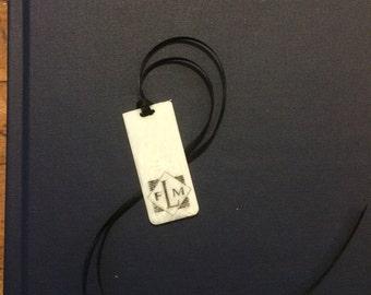 "Scrimshaw Alt-Ivory Piano Key ""Head"" Custom Monogram Bookmark"