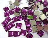 Acrylic Rhinestone Cabochon Beads, Faceted, Square, Purple, 6mm, 500pcs