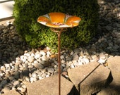 Glass Flower Bird Feeder in Tangerine with Copper