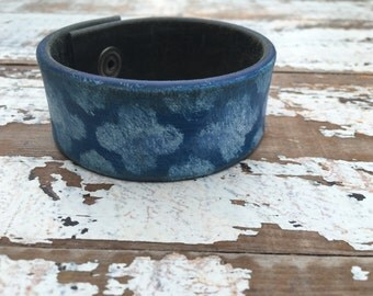 Custom Leather Cuff-Create Your Own-Old World Blue-Word Cuff-Hand Painted