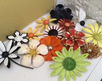 Enamel Flower LOT Pins Brooches / Groovy Flower Jewelry / Enamel Flower Bridal Bouquet / Bold Bright Colors