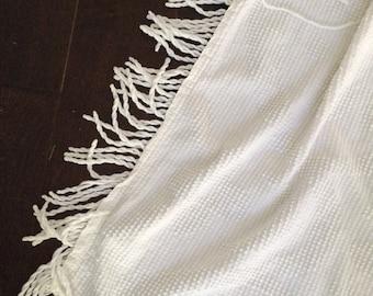 White Chenille Bedspread Cutter / Fringe / Fabric