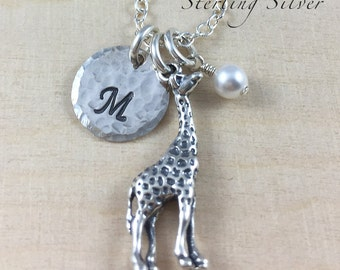 Giraffe Charm Necklace With Personalized Monogram Charm And Birthstone, Personalized Hand Stamped Sterling Silver Charm Necklace, Giraffe