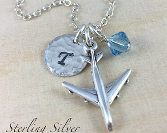 Airplane Charm Necklace Personalized With An Initial And Birthstone Charm, Sterling Silver Airplane Jewelry, Jet Plane Necklace, Pilot Gift