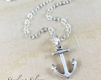 Sterling Silver Anchor Charm Necklace, Hand Stamped Initial Jewelry, Personalized Anchor Charm Necklace, Anchor Gift, Personalized Gift