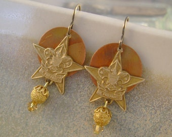 Be Prepared - Star Shaped Vintage Boy Scout Pins Anodized Copper Recycled Repurposed Upcycled Steampunk Jewelry Earrings
