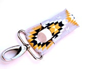 Chapstick holder, lip balm keychain, Grey with Navy and Yellow Aztec