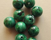 On Sale Vintage green marbled beads
