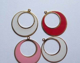 ON SALE Vintage large hoop pendants