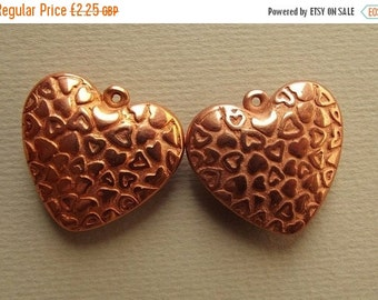 ON SALE Vintage puffy copper heart charms