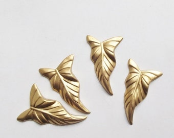 ON SALE Vintage brass leaf stampings