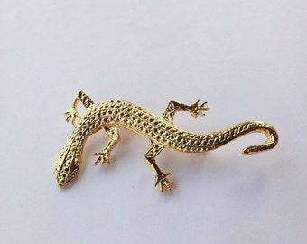 On Sale Vintage gold plated lizard brooch