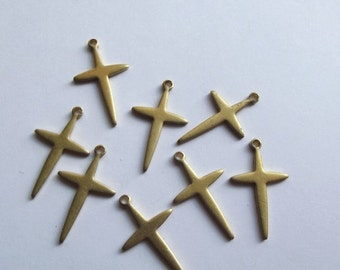 On Sale Vintage brass cross crucifix charms