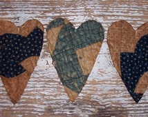 Primitive Heart Ornaments, Americana Christmas Decor, Tattered Hearts, Country Christmas, Antique Quilt Hearts, Blue White (set of 3)