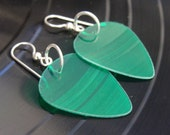 Green Vinyl Record Earrings - Handmade Guitar Picks made from Vinyl Records - Fashion Gift for Rockers, Musicians - Hit Record Earrings