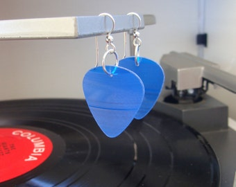 Blue Vinyl Record Earrings - Handmade Guitar Picks made from Vinyl Records - Fashion Gift for Rockers, Musicians - Hit Record Earrings