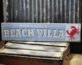 Custom Beach Villa City State Sign - Rustic Hand Made Distressed Wood ENS1000821