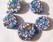 Gold Blue Green Kaleidoscope Artisan Polymer Clay Bead Set with Focal and 4 Beads