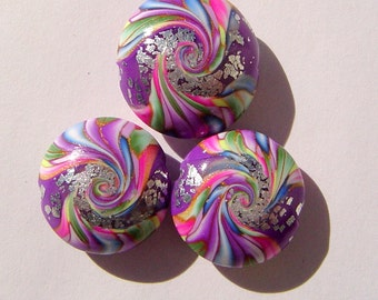 Silver Leaf Swirl  Lentil Artisan Polymer Clay Bead Set with Focal and 2 Lentil Shaped Art Beads (3 Beads)