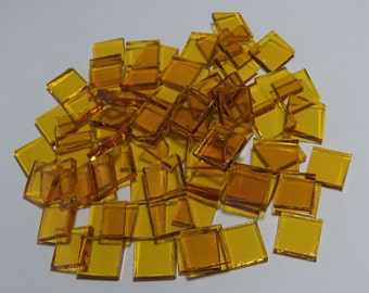 50 - 1/2 inch Bright Yellow Cathedral Stained Glass Mosaic Tiles - Spectrum