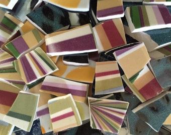 Mosaic Tiles Broken Plates Tesserae Art Supply multi Color Stripes Colorful