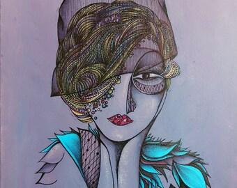 """Original Art Print, Portrait of 1920's Style Woman Wearing Turquoise, Feather Scarf, Purple, Violet, Lavendar, 8 x 11"""", modern art, portrait"""