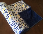 ON SALE***** Mojave in Blue minky backed baby blanket