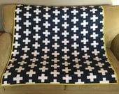 Navy Blue and White Plus Sign Modern Baby Blanket with Minky