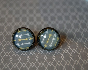 Tiny Arrows framed post earrings- grey, yellow and white- archer- warrior style- aged brass