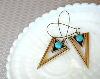 Triangle Dangle earrings- dark teal and turquoise - geometric aged brass