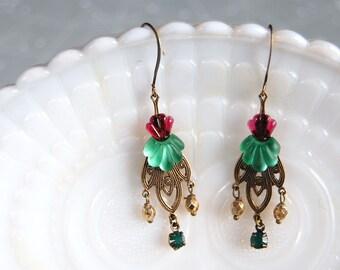 Art nouveau fairy queen vintage earrings- cranberry and jade - vintage stones