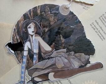 Bookmark - Laminated - Charm - Gothic - Crow - Raven - Tattoo - Art Nouveau - Crow Girl
