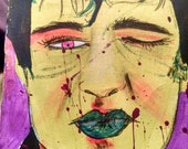 Elvis winking pop Art Zombie original painting on canvas