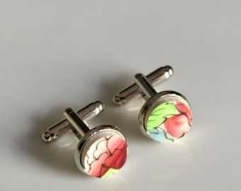 ETSYVERSARY SALE Broken China Silver Plated Cuff Links - Red Green Blue Floral