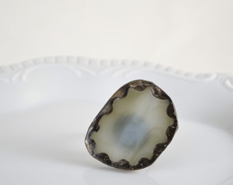 Recycled Stained Glass Ring -  Grey
