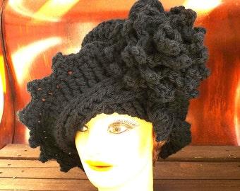 Black Cloche Hat,  Black Crochet Hat Black Womens Hat Trendy,  Wool Hat,  Black Hat,  Lauren 1920s Cloche Hat,  Crochet Flower