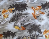 Free ship USA Surfin CATS Red or Gray Fabric Riley BLAKE 100% Cotton 44 45 inches Wide By The Yard