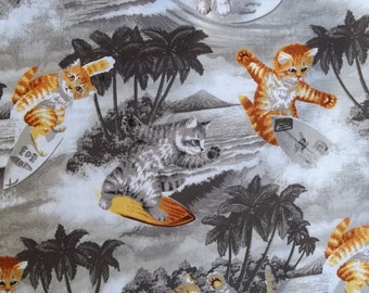 Free ship USA Surfin CATS Gray Brown Fabric Riley BLAKE 100% Cotton 44 45 inches Wide By The Yard