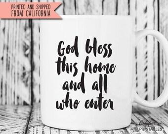 God Bless This House Mug, God Bless This House Coffee Mug, Bible Verse Mug, Christian Gift, Holiday Gift, Quote Mug, Housewarming Gift 36