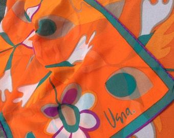 Vintage Vera rectangle scarf orange floral