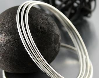 Simple Sterling Silver Bangle, Stacking Bracelet