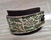 Leather Cuff Wrap Women's Bracelet, Vintage Ferns Digital Photo Print on 100% Genuine Leather * SALE * Coupon Codes